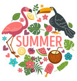 summer emblem exotic birds tropical plants and vector image