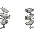 surveillance camera sketch engraving vector image