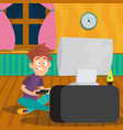 teenager boy playing in video game at room vector image