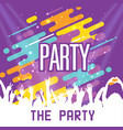 the party hands up people colorful background vect vector image