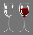 transparency empty and full wine glass design vector image vector image