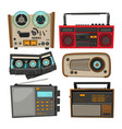 vintage audio recorders isolated on white vector image