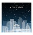 winter night in wellington night city vector image vector image