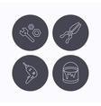 Wrench tool pliers and drill icons vector image vector image