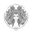 zodiac sign portrait a woman pisces vector image vector image