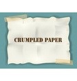 crumpled paper with tape on blue background vector image