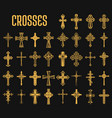 set of isolated crosses of christian religion vector image