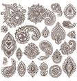 big set of henna floral elements vector image