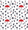 autumn pattern with red umbrella vector image vector image