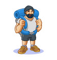 backpacker man mascot design vector image vector image
