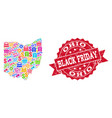 black friday collage of mosaic map of ohio state vector image vector image