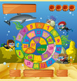 boardgame template with kids underwater vector image vector image