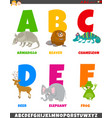 cartoon alphabet set with animal characters vector image