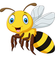 Cartoon smile bee flying isolated vector image