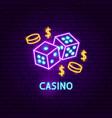 casino neon label vector image vector image