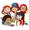Children working in group vector image