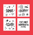 christmas lettering set vector image vector image