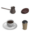 coffee set in 3d vector image vector image
