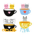 collection with cats and tea cups a cup tea is vector image