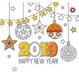 congratulation card happy new year 2018 wreath vector image