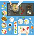 Dishes And Utensils On The Kithen vector image vector image