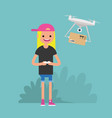 Drone delivery service young female character