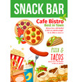 fast food snacks bar and bistro menu vector image vector image