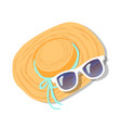 female straw hat decorated blue ribbon sunglasses vector image