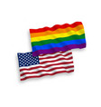 flags rainbow gay pride and america on a white vector image