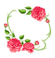 frame with red roses beautiful decorative flowers vector image
