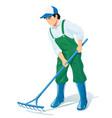 garden worker with rake vector image vector image