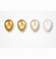 golden flying balloons with ribbons isolated on vector image