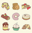 hand drawn pastry and cake set vector image vector image