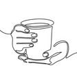 hand holding mug with tea or coffee one line vector image vector image