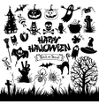 happy halloween designs set with various elements vector image vector image