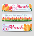 happy woman day banners with tulips vector image vector image