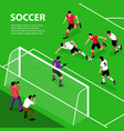isometric soccer attack background vector image vector image