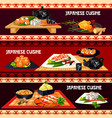 japanese cuisine banner for restaurant sushi bar vector image vector image