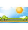 landscape background design with sun over empty vector image vector image