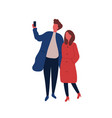 man and woman taking selfie flat vector image