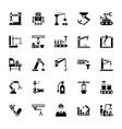 manufacture robotics glyph icons vector image