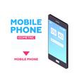mobile phone web banner - modern isometric vector image