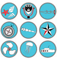 Nautical elements type 2 icons in knottet circle vector image vector image