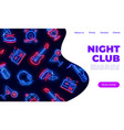 neon night club landing dance music karaoke bar vector image vector image