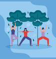 people yoga outdoor flat design image vector image
