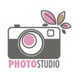 photo studio retro camera and plant leaves vector image vector image