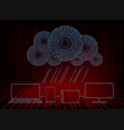 red background with computer cloud with rain of vector image vector image