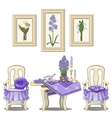 Romantic purple serve table with flowers chairs vector image