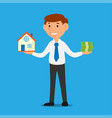 salesman carries house and money vector image