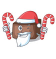 santa with candy slice almond chocolate cake vector image vector image
